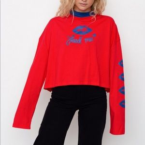 Lazy Oaf 100 % Cotton Feed Me Cropped Long Sleeve